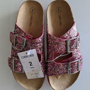 Girls Cherokee Pink Glitter Sandals (Size 2)